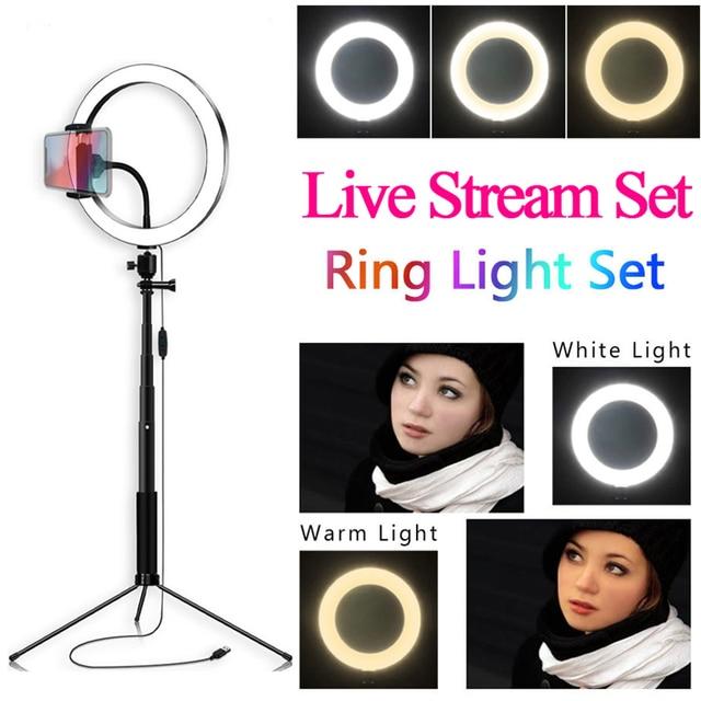 Fill Light 20cm LED Selfie Ring Light Dimmable Desktop Fill Light Live Show Artifact Microphone Multi-function Live Broadcast