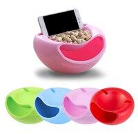 Criativo preguiçoso lanche tigela de plástico dupla camada lanche caixa de armazenamento tigela de frutas e suporte do telefone móvel chase artefato 4 cores Tigelas     -