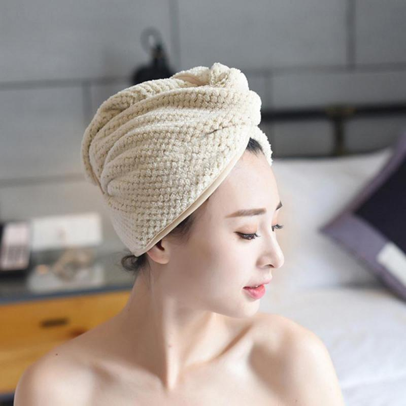 Coral Fleece Towel Quick Dry Hair Magic Drying Turban Wrap Hat Cap Bath Shower