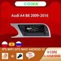 Автомобильный мультимедийный экран с системой Android 10 для Audi A4 B8 09-16 IPS сенсорный экран 2 + 32 ГБ ОЗУ WIFI Google SWC BT GPS Navi головное устройство