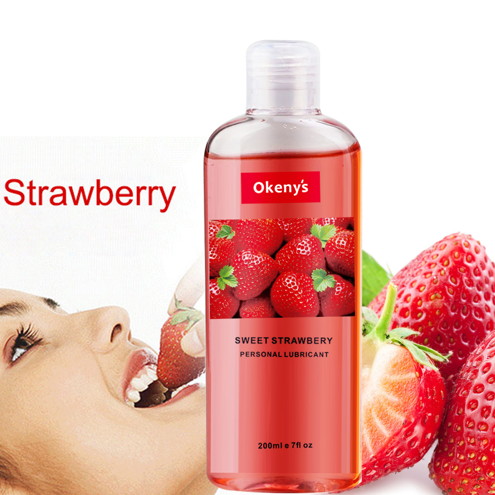 200ml Strawberry Flavor Edible Lubricant For Anal Vaginal Oral Sex Silicone Lubricating Oil Adult Sex Products Body Massage Gel