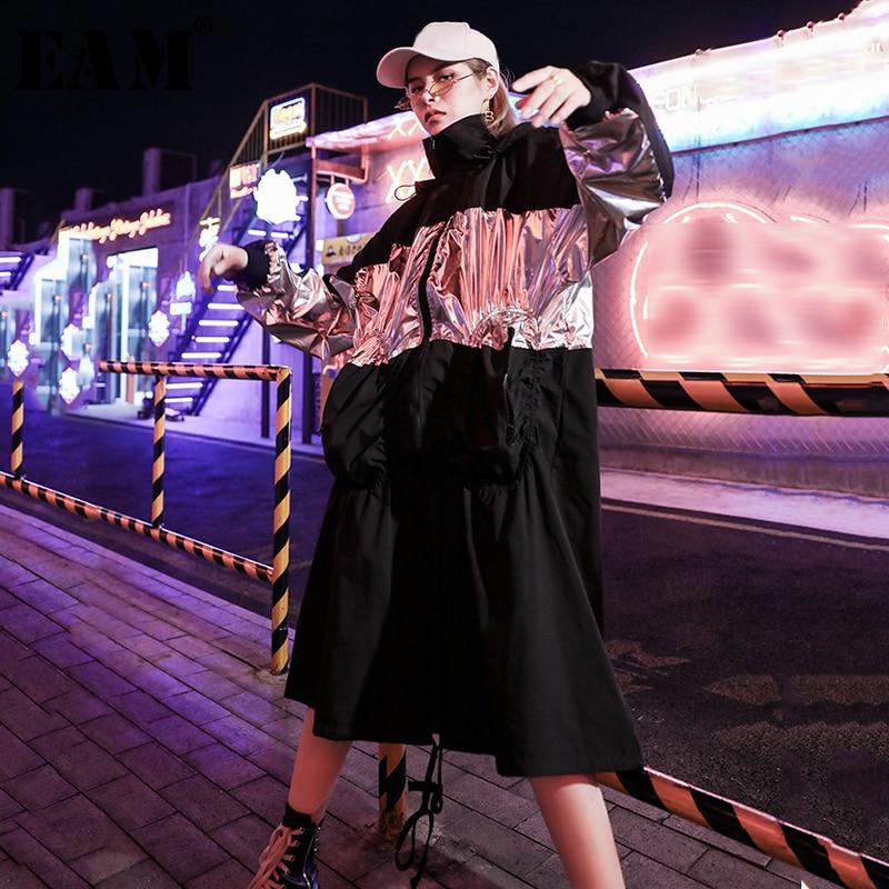 [EAM] Women Black Split Big Size Trench New Hooded Long Sleeve Loose Fit Windbreaker Fashion Tide Autumn Winter 2019 1B317