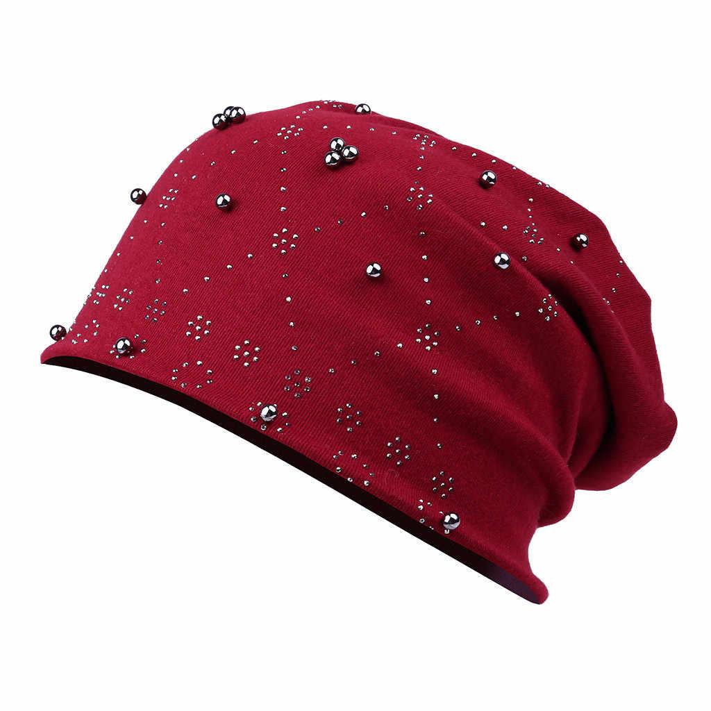 여자 헐렁한 겨울 모자 사이클링 야외 모자 세련된 포인트 아가일 라인 석 니트 오토바이 모자 블랙 겨울 따뜻한 숙녀 모자