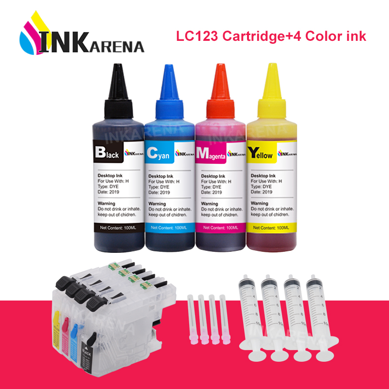 Чернила для принтера INKARENA 4 × 100 мл + LC123 XL, многоразовые чернильные картриджи для Brother LC 123 121 125 127 Φ J132W J152W