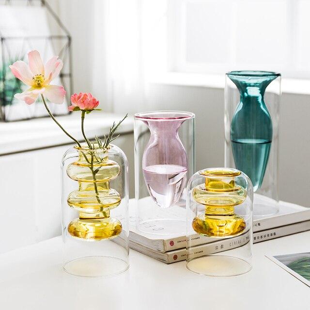 Home decoration accessories Nordic style Colourful Glass Transparent Vase Flower Arrangement Hydroponic Aquaculture Bottle Table 4