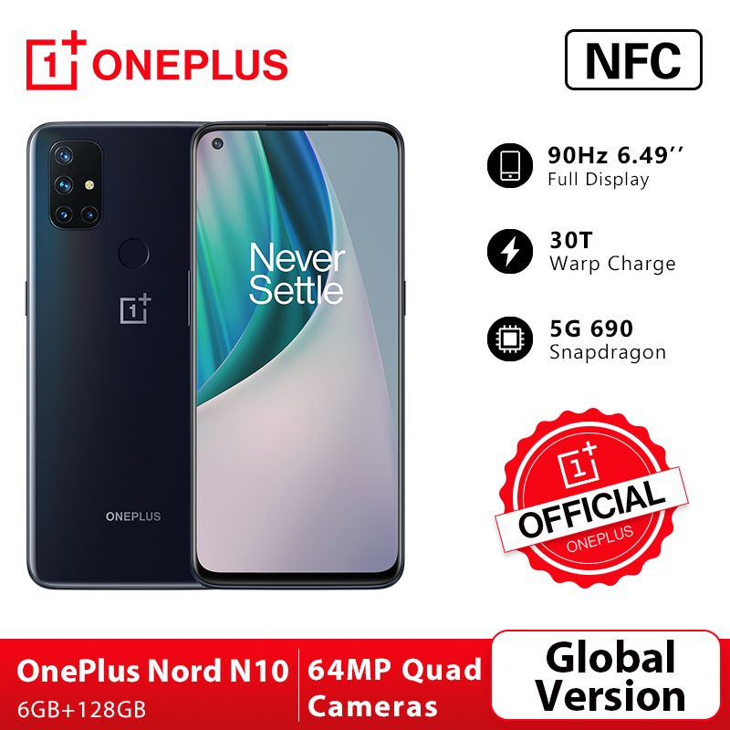 OnePlus Nord N10 5G OnePlus Official Store Глобальная версия 6 ГБ 128 Snapdragon 690 смартфон 6,49 90 Гц FHD + безрамочный экран с Дисплей 64MP Quad камеры Warp заряжайте 30T NFC; code: ...