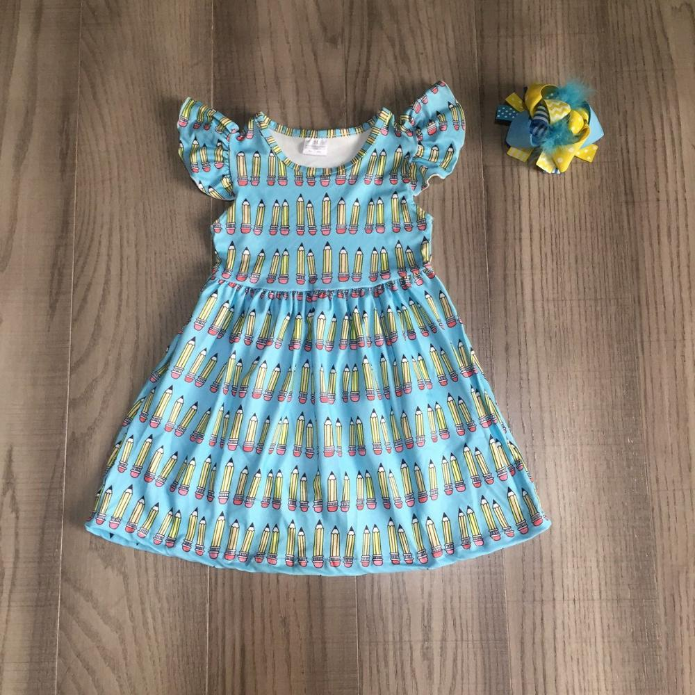 Baby Girls Summer Dress Girls Back To School Clothes Pencil Print Dress Girls Blue Dress Girls Boutique Dress With Bow