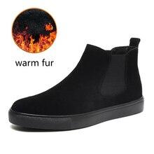 Büyük boy erkek rahat sıcak kar botları açık havada inek deri pamuk kış ayakkabı flats platformu bileğe kadar bot chelsea botas sapatos