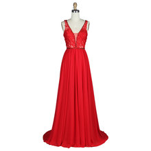 2019 New Evening Dress Elegant Breathable Open V-Neck Ruffled Chiffon Formal Ball Party