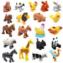 Tamanho grande diy peças blocos de construção tijolos compatíveis acessórios do jardim zoológico animal figuras macaco cão leão cervos brinquedos para crianças presentes