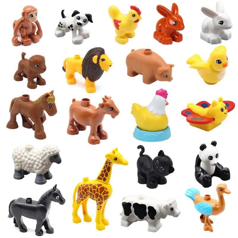 Tamanho grande duplo diy blocos de construção compatível duplo animal zoo acessórios figuras macaco cão leão cervos brinquedos para crianças presentes