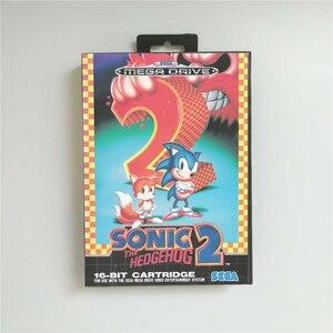 Image 1 - סוניק הקיפוד 2   EUR כיסוי עם תיבה הקמעונאי 16 קצת MD משחק כרטיס עבור Megadrive בראשית וידאו משחק קונסולה