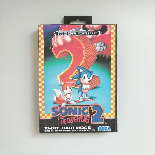 Sonic the Hedgehog 2   EUR Abdeckung Mit Einzelhandel Box 16 Bit MD Spiel Karte für Megadrive Genesis Video Spiel konsole