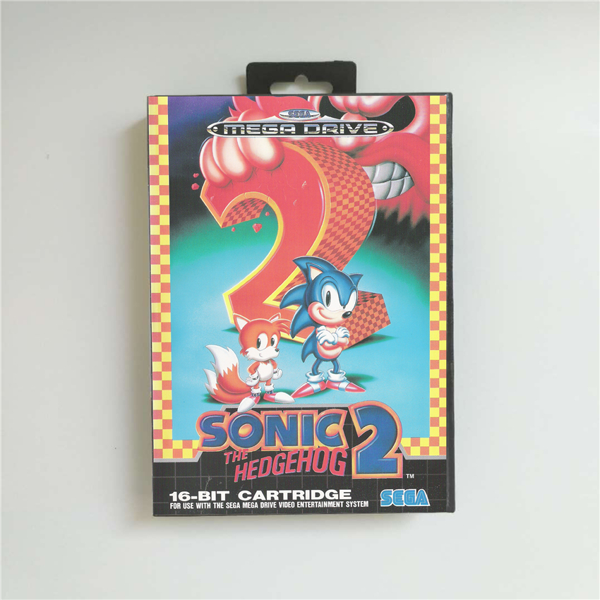 Sonic The Hedgehog 2 Eur Cover With Retail Box 16 Bit Md Game Card For Megadrive Genesis Video Game Console Replacement Parts Accessories Aliexpress