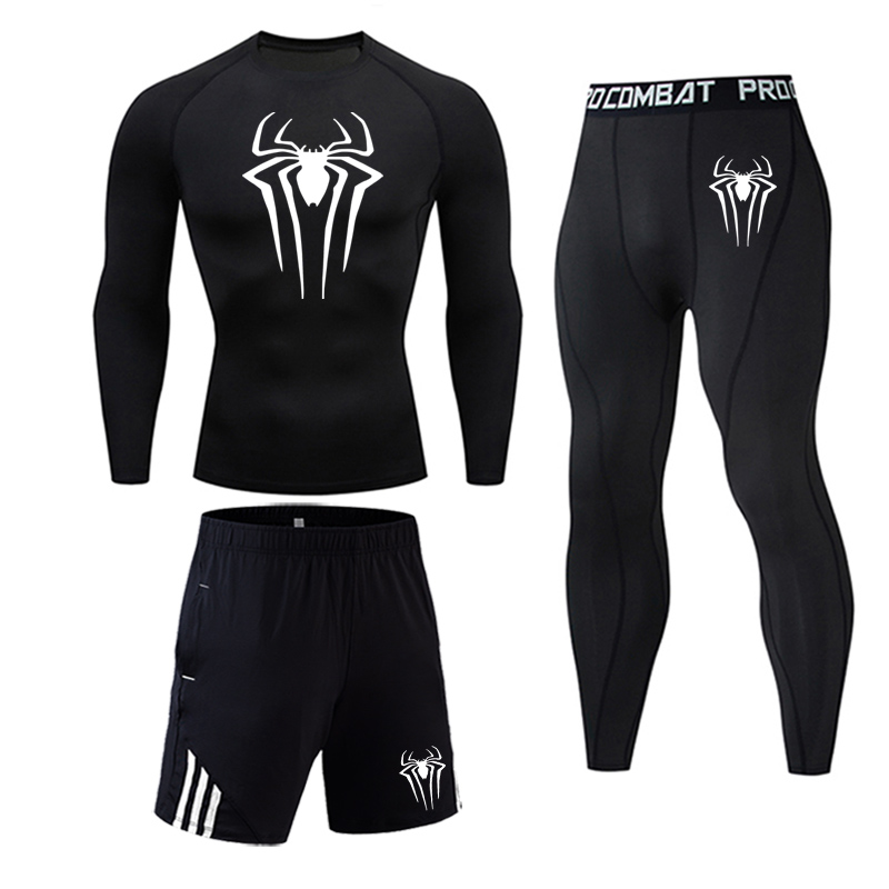 Spider Compression Sportswear Set Men's Winter Sports Suits Fitness Tights Shirt Training Pants  Tracksuit Men DIY Clothing 4XL