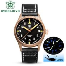 STEELDIVE 1940s CuSn8 Pilot Watch Bronze Mechanical Watch Me