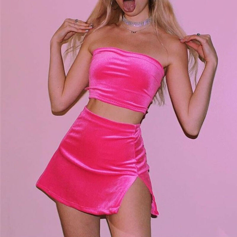 Womens Velvet Crop Top Skirts 2pcs Set Ladies 2019 Summer Spaghetti Strap Tube Top Split Mini Skirt Fashion Sexy Female Sets New