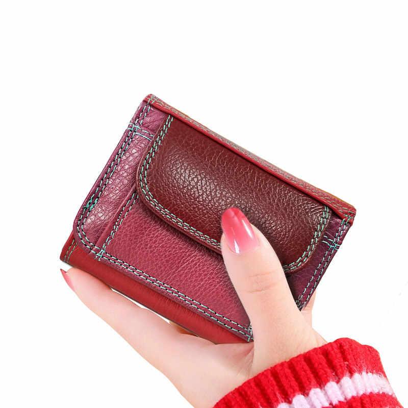 Beth cat Mini portfel damski ze skóry naturalnej małe luksusowe damskie etui na karty portfele Slim Cow fashion Lady portfel portmonetki