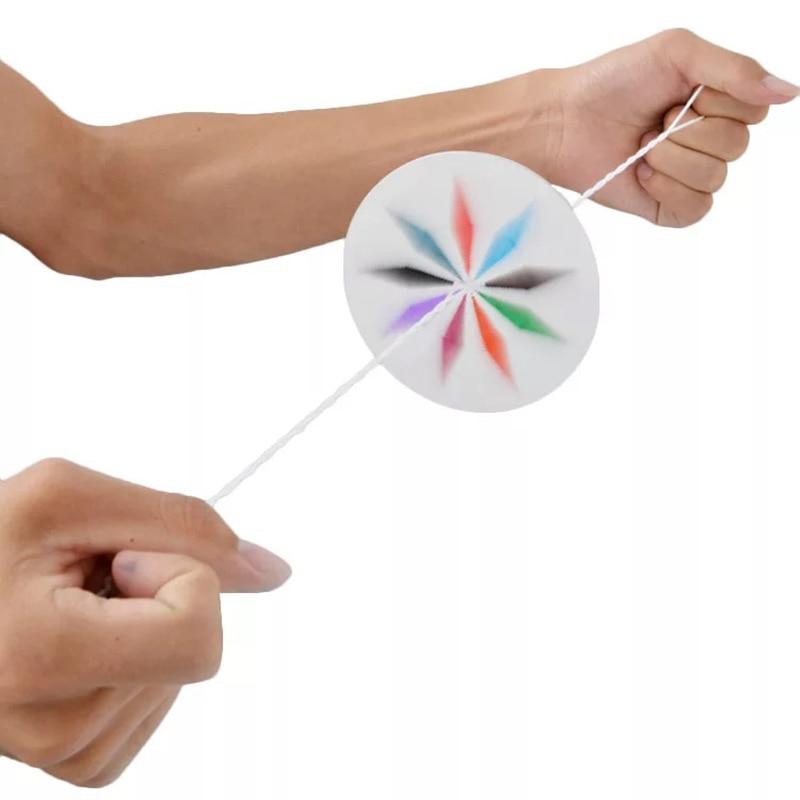Kids Toys Hand-made Dream Flywheel Free DIY Graffiti Paper Rope-threading Hand-pulled Flywheel