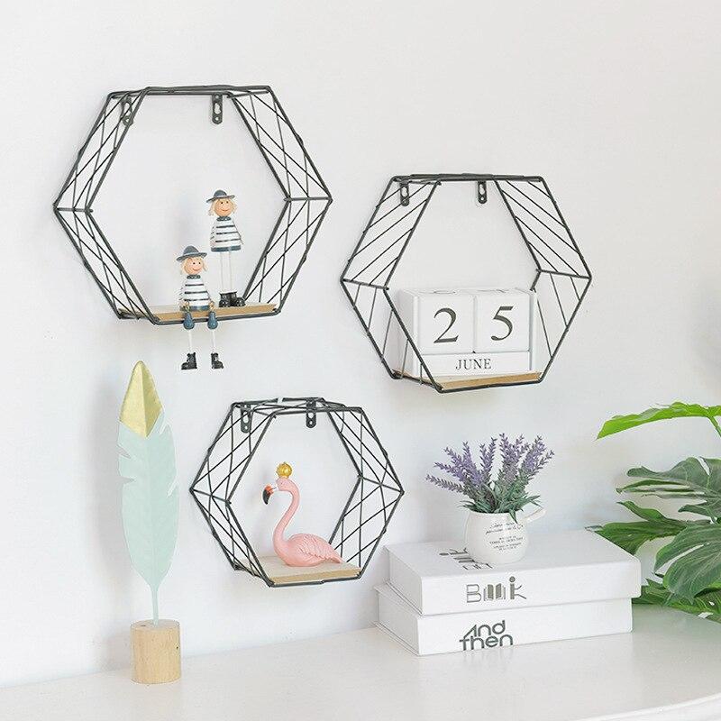 Ins Scandinavian Minimalist Hexagonal Iron Art Shelf Wall Wall Hangers Multi-functional Bedroom Room Wall Ornaments