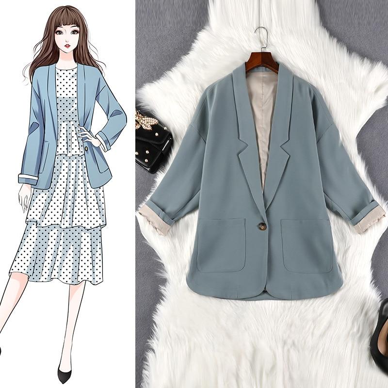 Automne et hiver veste femme lâche grande taille 5XL un bouton poche veste femme tempérament banlieue femmes vêtements 1783
