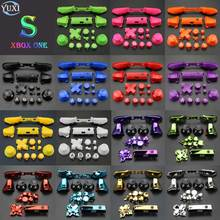 YuXi Full Sets Chrome Button Replacement For Xbox One S Dpad ABXY Trigger Grips stick Parts for Xbox One S Controller