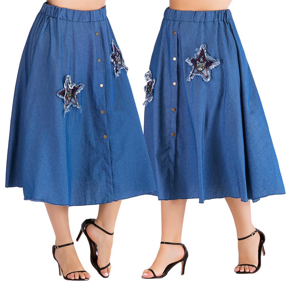 Womens Ladies Fashion Bleached Denim Elastic waist A-Line Flared Midi Skirt 9048