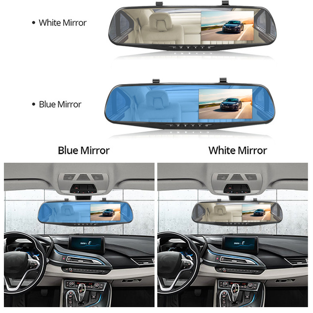 E-ACE Full HD 1080P voiture Dvr caméra Auto 4.3 pouces rétroviseur numérique enregistreur vidéo double lentille caméscope d'enregistrement 2
