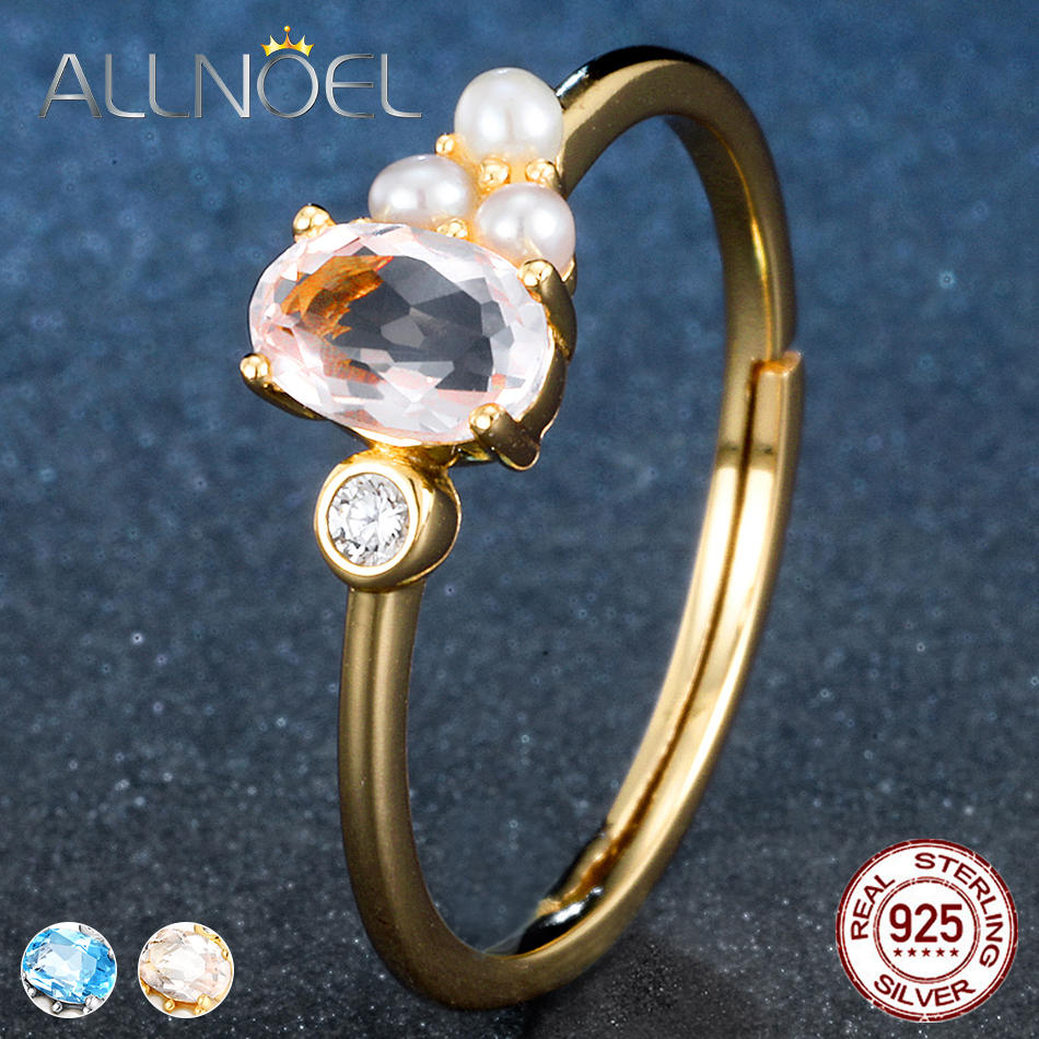 ALLNOEL Silver 925 Jewelry Womens Ring  Authentic Blue Topaz Rose Quartz Natural  Gemstone Yellow Gold Color Silver 925 Jewelry
