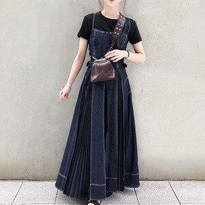 Sukienka jeansowa kobiety 2020 wiosna koreański mody przyczynowe Halter niebieskie dżinsy długa, do połowy łydki plisowane sukienki brązowy szata Sundress Vestidos