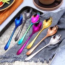 Stainless Steel Salad Spoon Fork Integration 1pcs 18*3.7cm Multi-color Tableware for Flatware Kitchen Accessories