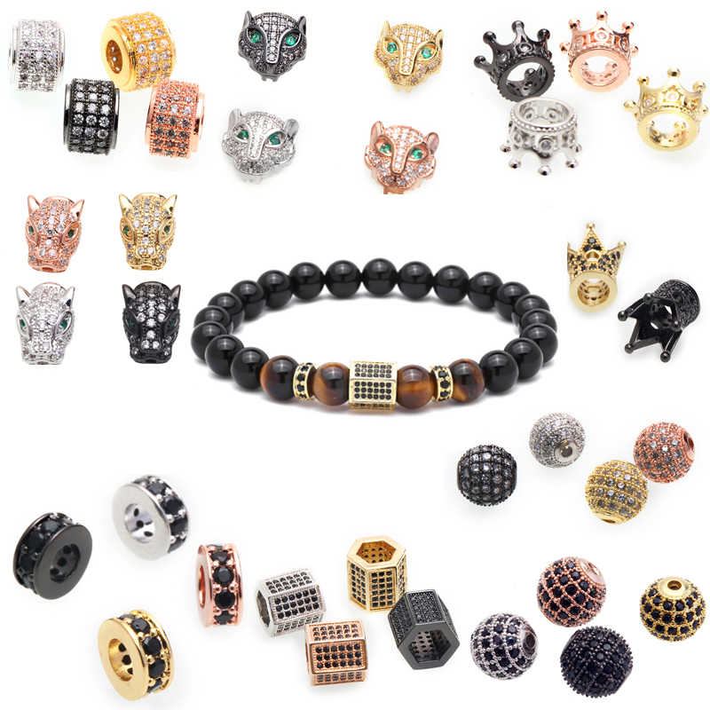 beads for jewelry making Crystal CZ Geometry Crown Leopard Helmet Skull Round Space Beads for Jewelry DIY Bracelet Making beads