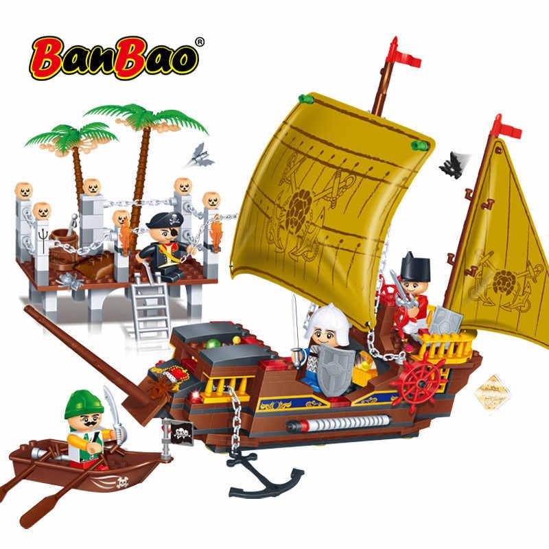 BanBao Pirata Dei Caraibi Barca A Vela Nave Barca Educativi Blocchi di Costruzione di Mattoni Giocattolo Modello 8707 Dei Capretti Dei Bambini Compatibile Con Il Marchio