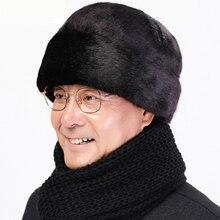 HT2667 Men Cap Hat Solid Thick Warm Winter Hat Mink Fur Earflap Cap Casual Male Russian Hat Male Winter Windproof Bomber Hat