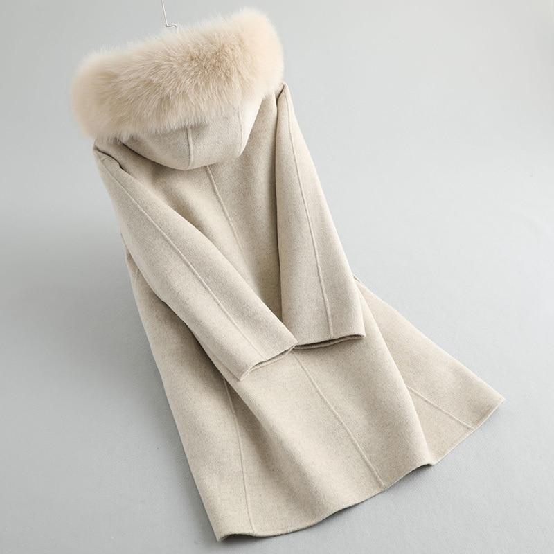 Women Jacket Winter Real Fur Coat Female Luxury Rabbit Fur Liner 100% Wool Coat Fox Fur Collar Warm Long Jackets MY4389 S