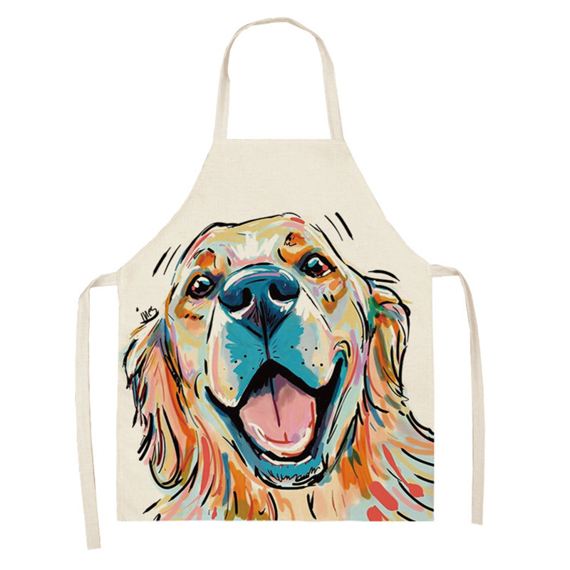 Lovely Dog Kitchen Aprons For Women Sleeveless Cotton Linen Aprons Home Cooking Baking Bibs Cleaning Tools 66x47cm 47x38cm