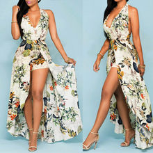 Vrouwen Zomer Off Shouder Flower Party Jumpsuit Playsuit Strand Broek Broek Tropische Strand Vintage Maxi Jurken Sukienka # S(China)
