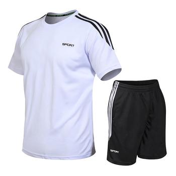 Mens Tracksuits Set 2020 Summer Men Shorts Sets New Sportswear Short-Sleeved Shirts +Shorts Casual Outwear Man Sport Sweat Suits 2