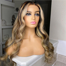 Wig Human-Hair-Wigs Lace-Front-Wig Brazilian with Hair-Highlight Blonde Body-Wave Remy