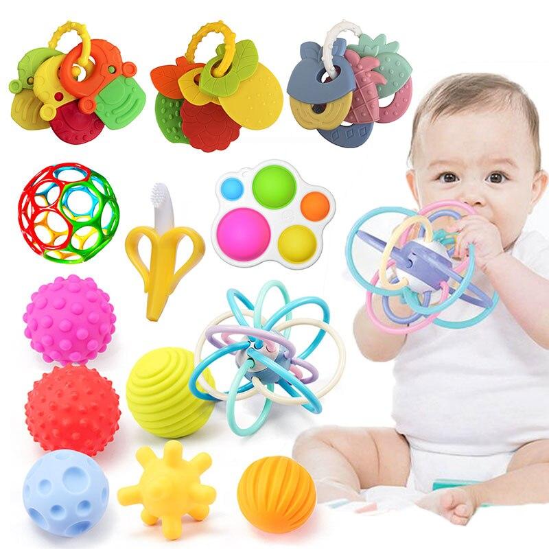 Brinquedos infantis educativos bola brinquedos do bebê 0 12 meses chocalhos cama bell mordedores para dentes recém-nascidos doces desenvolver brinquedo para bebês