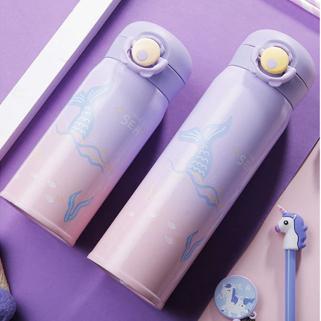 Kids Stainless Steel Water Bottle Cartoon Mermaid Thermal Hot Water Bottles for School Travel Insulated Vacuum Flask
