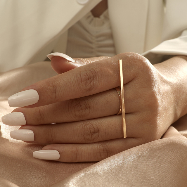 MANGOSKY 18KGP Fashion Long Square Bar Ring For Women 1