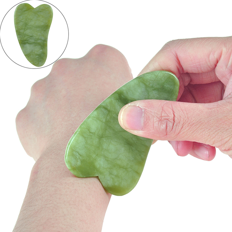 1PCS Natural Jade Stone Guasha Massage Tool SPA Therapy Gua Sha Massager Chinese Gua Sha Tools For Body Health Care 3 Style
