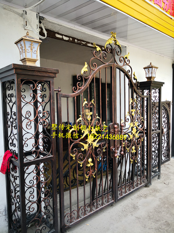Custom Made Wrought Iron Gates Designs Whole Sale Wrought Iron Gates Metal Gates Steel Gates Hc-g105
