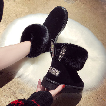 цена на Ankle boots for women Women Boots Genuine Leather Real Fox Fur Brand Winter Shoes Warm Black Round Toe Casual  Female Snow Boots