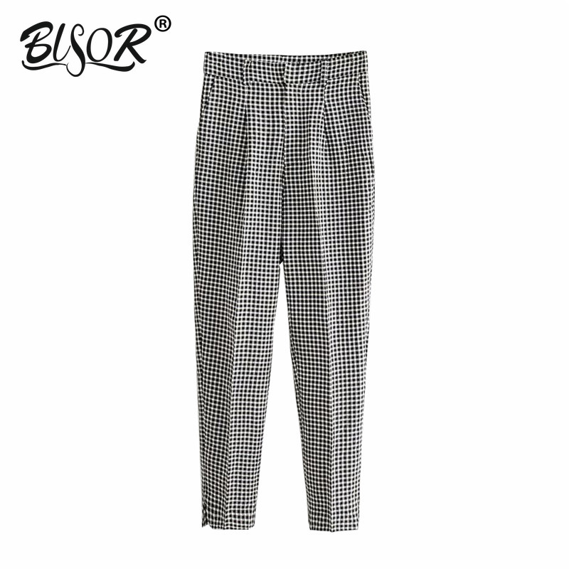 Fashion Plaid Pants Women Pockets Zipper Fly High Waist Female Casual Office Wear Trousers Mujer