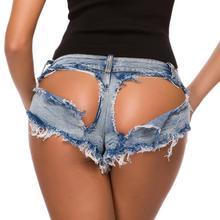Newest Hollow out Women Sexy Shorts Hole Super Denim Jeans Mini Low Waist Slim Female DS Clubwear Fashion Booty