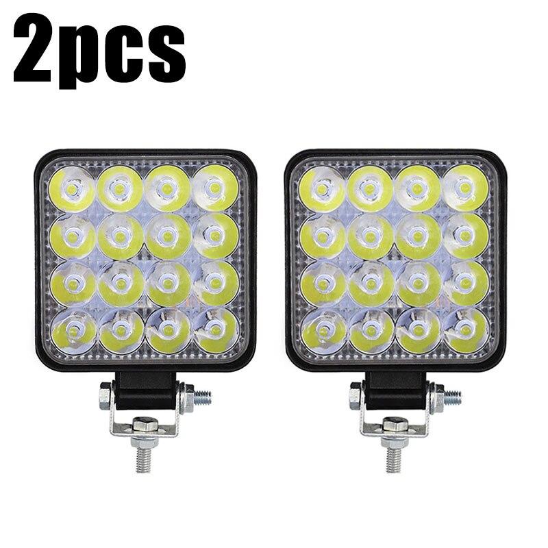 2pcs Car Truck LED Work Light MINI 48W 16 LED 12V/24V 6000K Work Light Flood Beam Bar Car SUV Off Road Driving Fog Lamp|Light Bar/Work Light| |  - title=