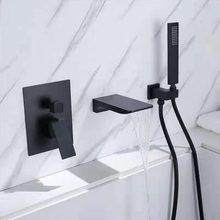 Siyah krom pirinç küvet bataryası duvar veya güverte üstü 3 adet şelale küvet musluk karışık musluklar pirinç duş başlığı
