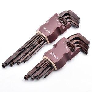9 sztuk 1.5mm-10mm sześciokąta metryczny sześciokątny klucz imbusowy zestaw narzędzi imbus matowy Chrome Ball koniec zestaw kluczy śrubokręt zestawy narzędzi